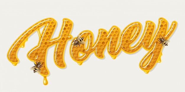 Honing belettering met bijen Gratis Vector