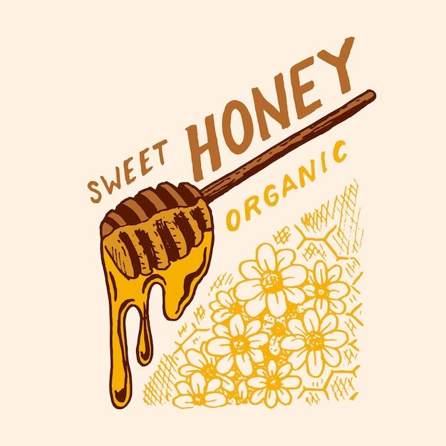 Honing en bijen. vintage logo voor typografie, winkel of uithangborden. Premium Vector