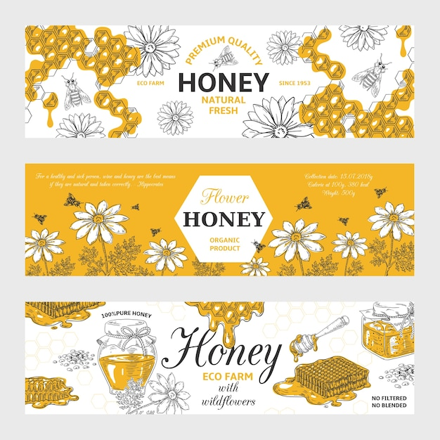 Honing etiketten. honingraat en bijen vintage schets achtergrond, hand getrokken biologisch voedsel retro Premium Vector