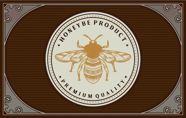 Honing labelontwerp met bijen element Premium Vector