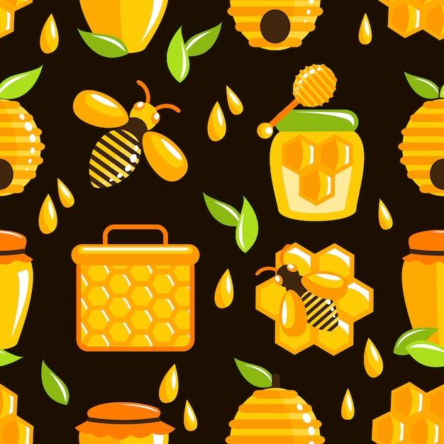 Honing naadloze patroon Gratis Vector