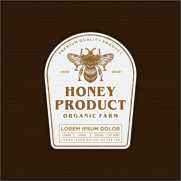 Honing product logo labelontwerp Premium Vector