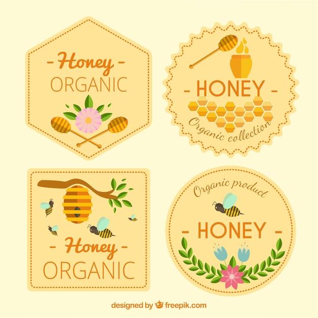 Honing vintage stickers te pakken Gratis Vector