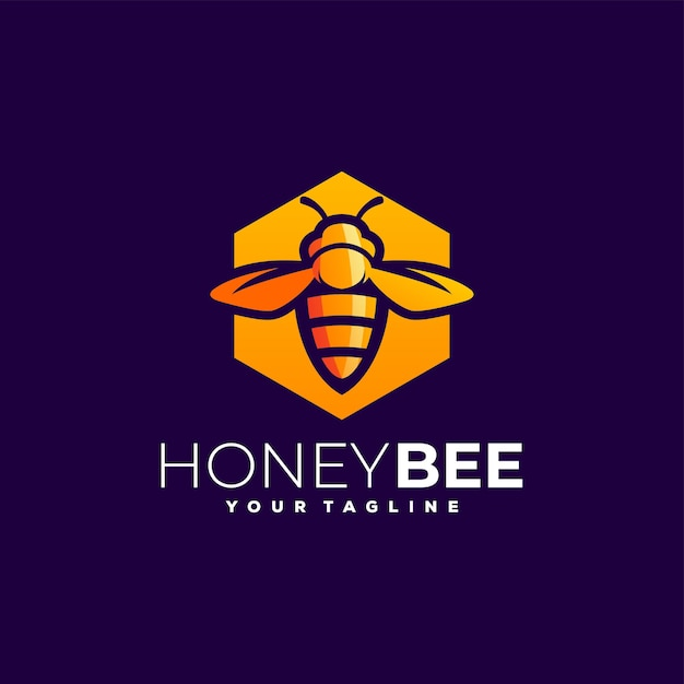 Honingbij kleurovergang logo Premium Vector
