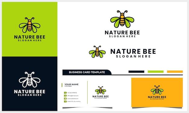 Honingbij logo ontwerp met vleugel blad concept en sjabloon voor visitekaartjes Premium Vector