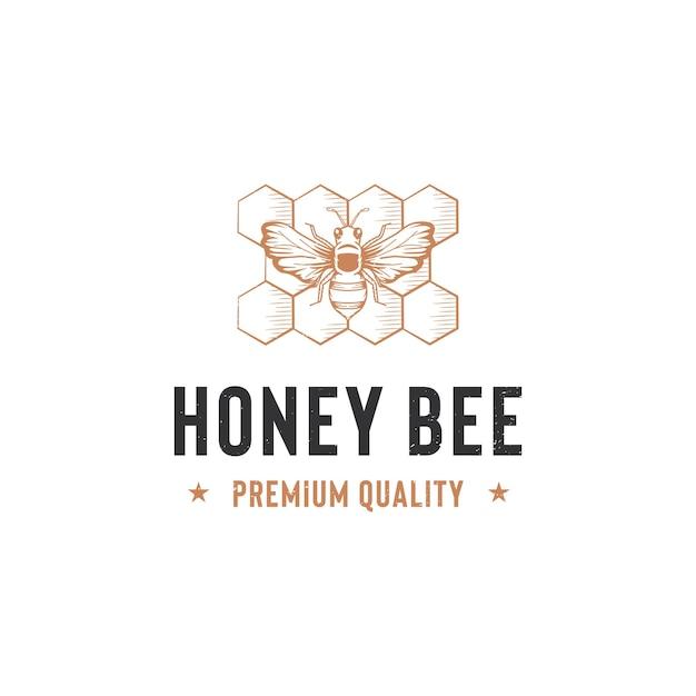 Honingbij logo sjabloon geïsoleerd op wit Premium Vector