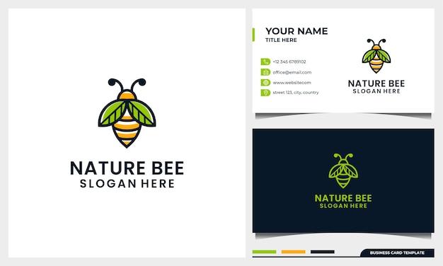 Honingbij logo sjabloon met natuur vleugel blad lijntekeningen concept en sjabloon voor visitekaartjes Premium Vector