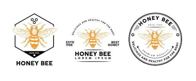 Honingbij sjabloonontwerp voor logo, badge en andere Premium Vector