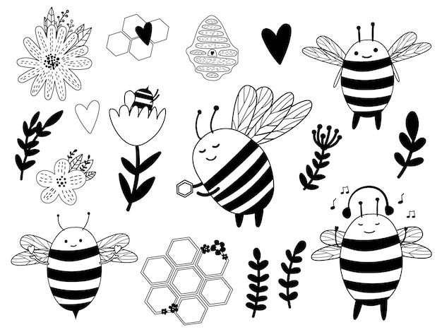 Honingbijen schattige bijenbundel. bij met honing en bloem. Premium Vector