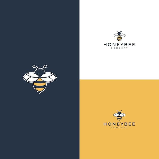 Honingbijlogo op wit of geel Premium Vector