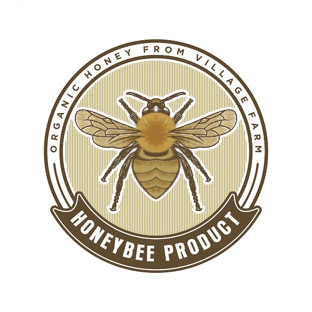 Honingproducten of honingbij boerderijen logo Premium Vector