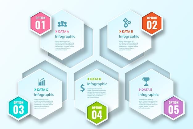 Honingraat gradiënt infographics met pictogrammen Gratis Vector