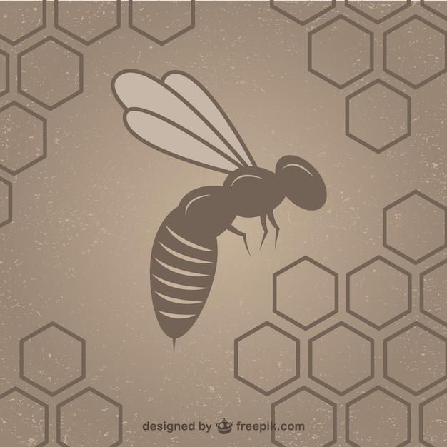 Honingraat met bijen achtergrond sjabloon Gratis Vector