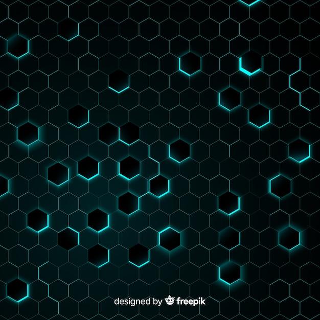 Honingraat met chaotisch lichtblauw licht Gratis Vector