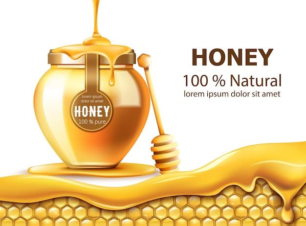 Honingraten en een pot met honing Gratis Vector
