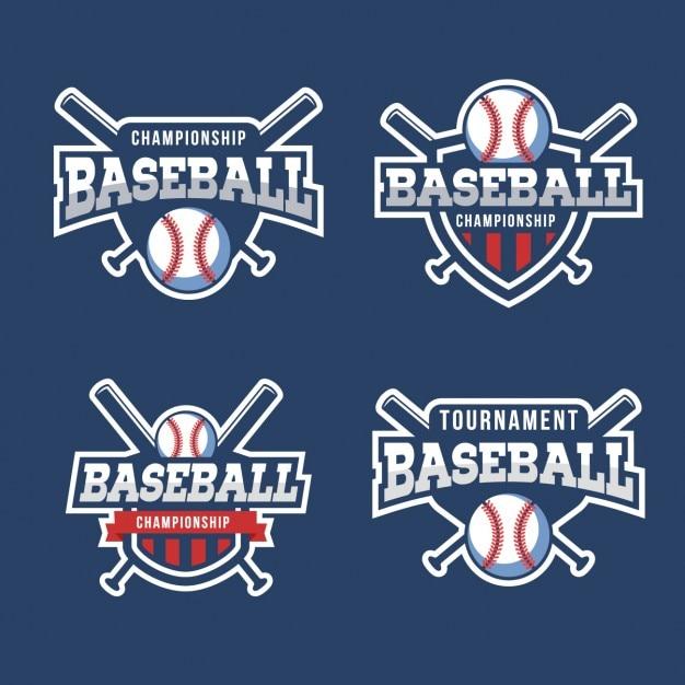 Honkbal badges collectie Gratis Vector