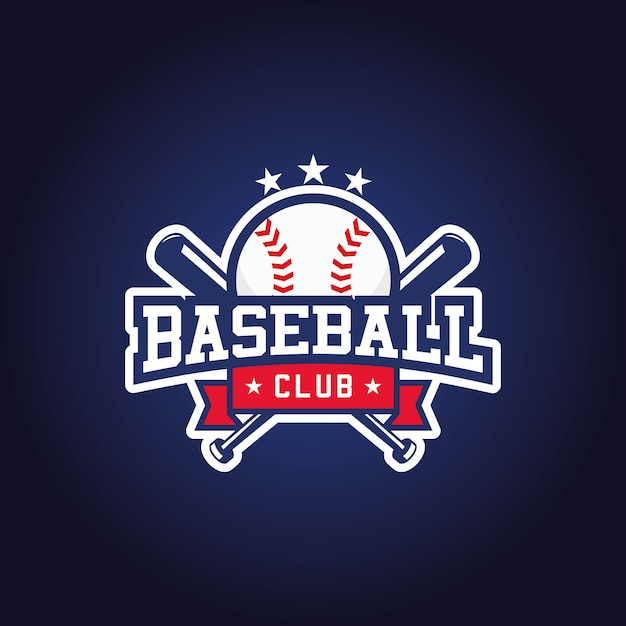 Honkbal club logo ontwerp Premium Vector