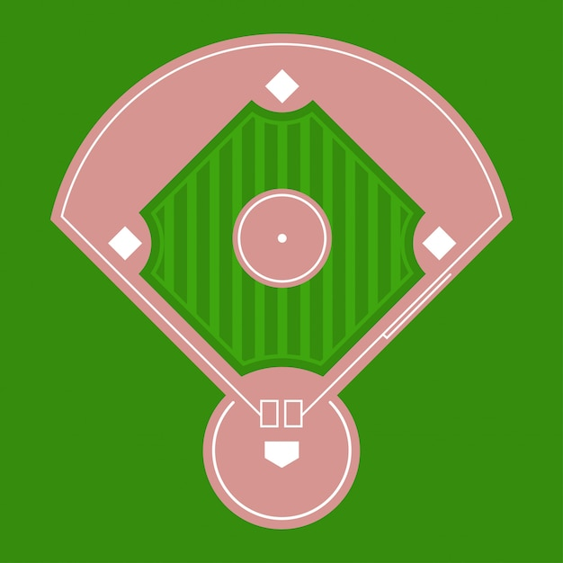Honkbal diamantveld bovenaanzicht. Premium Vector