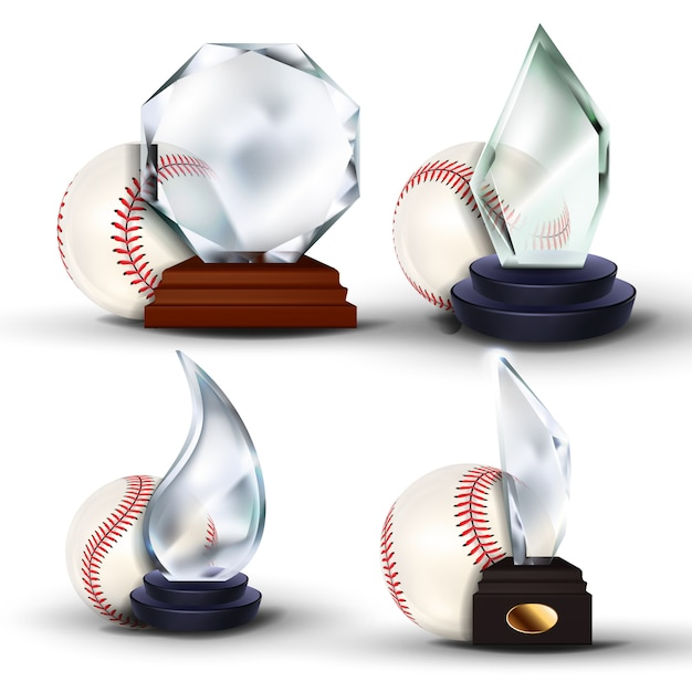 Honkbal game award set Premium Vector