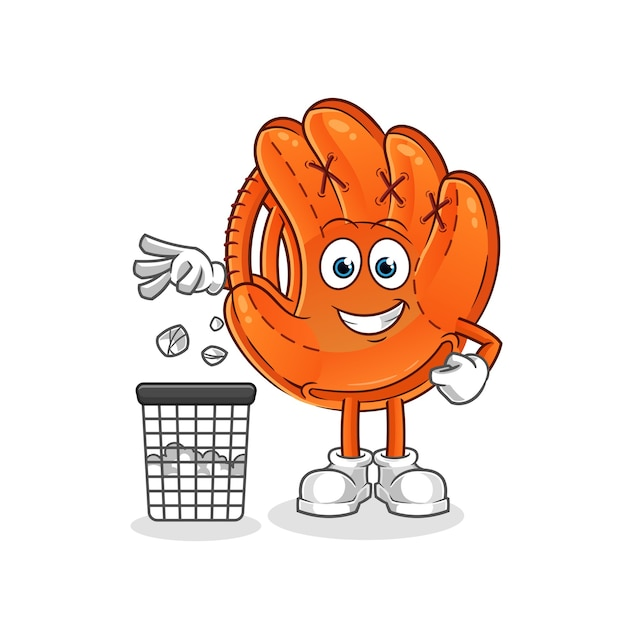 Honkbal handschoen gooi vuilnis in de vuilnisbak cartoon mascotte Premium Vector