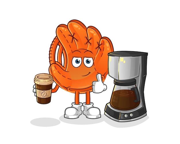 Honkbal handschoen koffie drinken illustratie Premium Vector