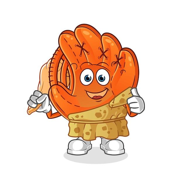 Honkbal handschoen oude cartoon afbeelding Premium Vector