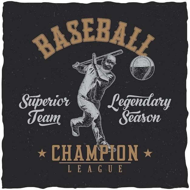 Honkbal kampioen league poster Gratis Vector