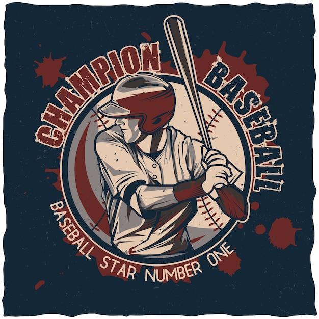 Honkbal kampioenschap poster Gratis Vector