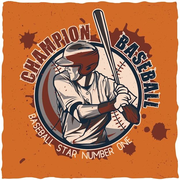 Honkbal labelontwerp. Gratis Vector