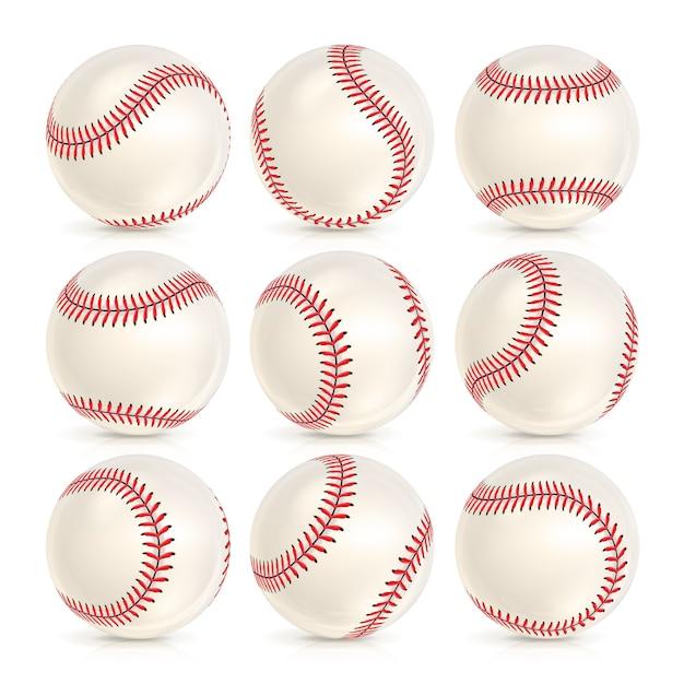 Honkbal lederen bal set geïsoleerd Premium Vector