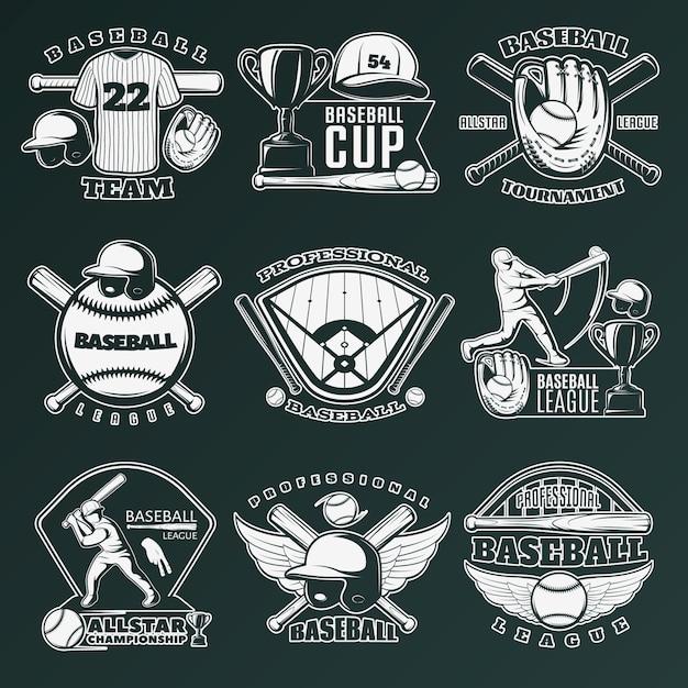 Honkbal monochroom emblemen van teams en wedstrijden met sportartikelen Gratis Vector