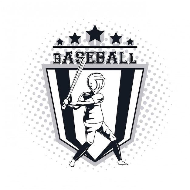 Honkbal speler pictogram Premium Vector