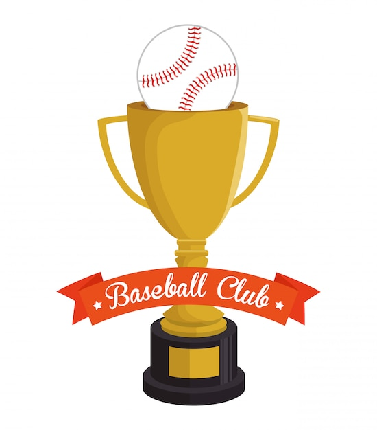 Honkbal trofee en bal club illustratie Gratis Vector