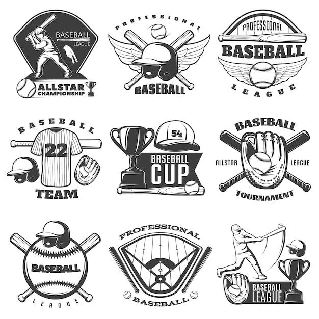 Honkbal zwart-witte emblemen van teams en toernooien met geïsoleerde de kopspeler van het sportuitrusting Gratis Vector