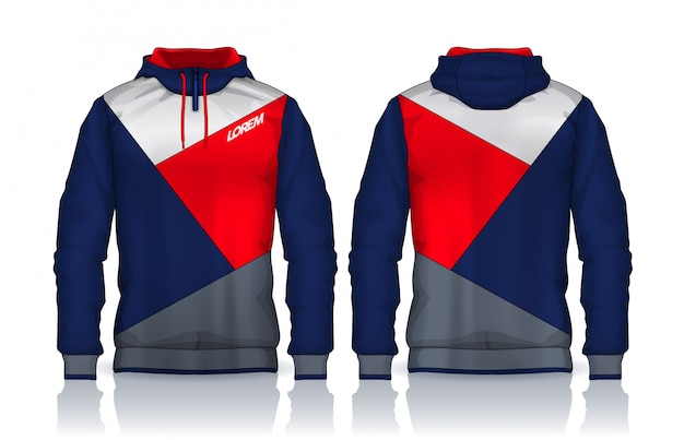 Hoodie shirts template.jacket design, sportswear track voor- en achteraanzicht. Premium Vector