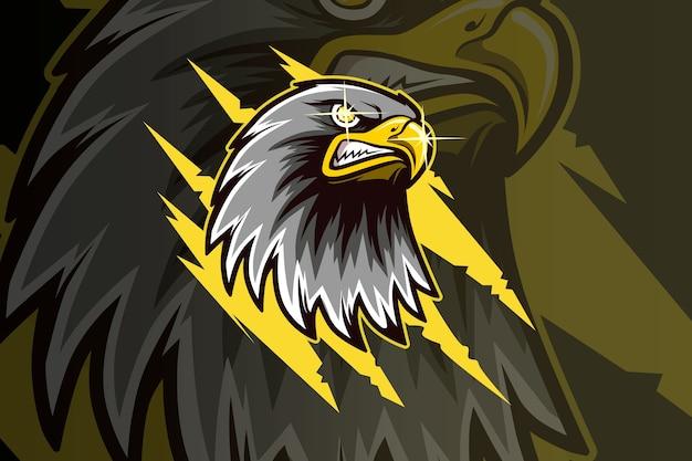 Hoofd eagle mascotte esport-logo Premium Vector