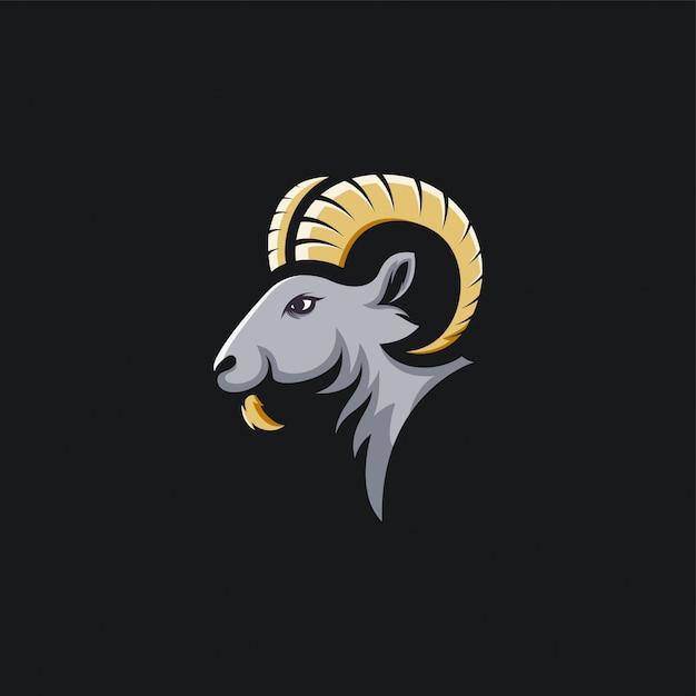 Hoofd geit logo ontwerp ilustration Premium Vector