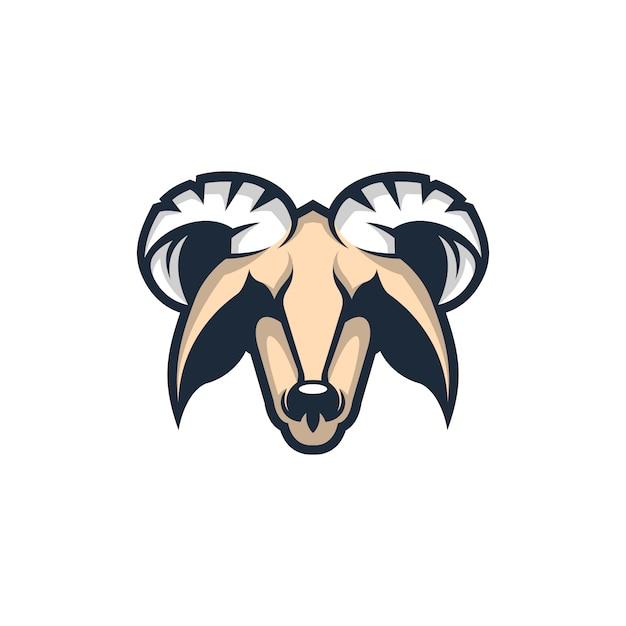 Hoofd geit mascotte logo Premium Vector