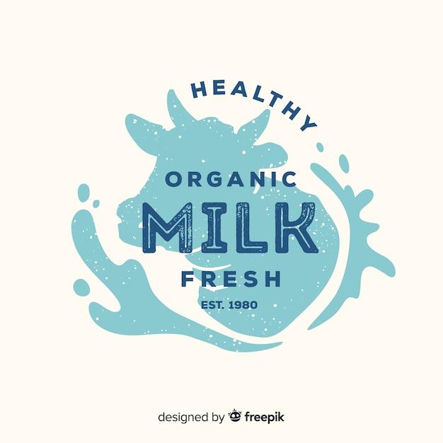 Hoofd koe silhouet melk logo Gratis Vector