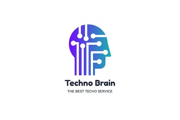 Hoofd van de man en chip techno brain multimedia logo Premium Vector