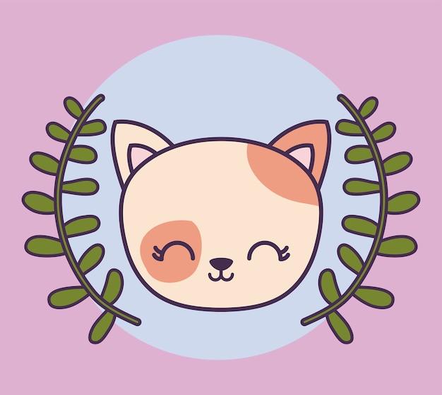Hoofd van schattige kat dier met kroon bladeren Premium Vector