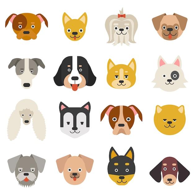 Hoofden van huisdieren Premium Vector