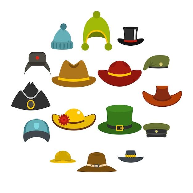 Hoofdtooi hoed pictogrammen instellen in vlakke stijl Premium Vector