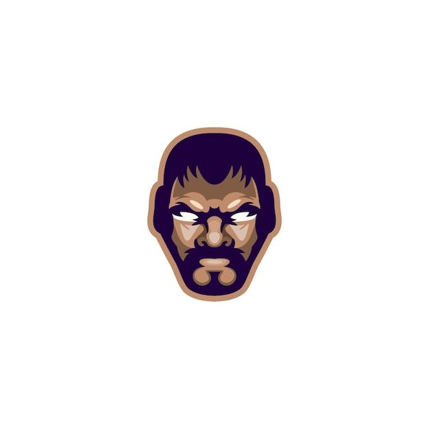 Hoofdvechter ontwerp vector logo Premium Vector