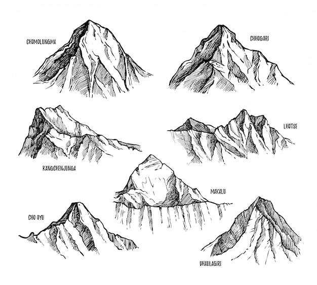 Hoogste bergen van himalaya Premium Vector
