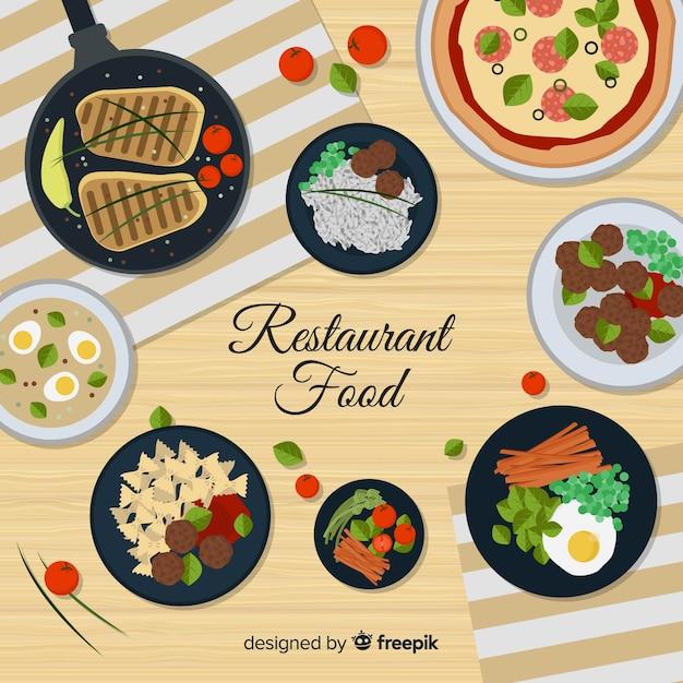 Hoogste mening van moderne restaurantlijst met vlak ontwerp Gratis Vector