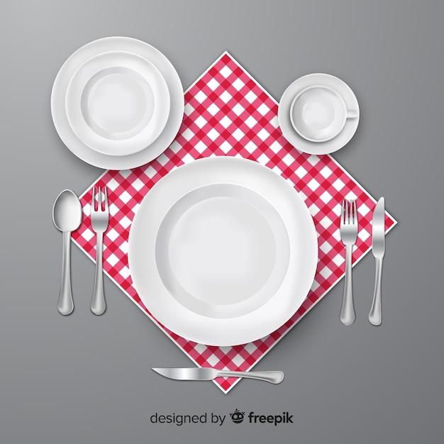 Hoogste mening van restaurantbestek met realistisch ontwerp Gratis Vector