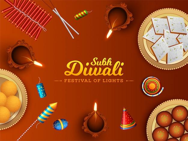 Hoogste mening van snoepjes met vuurwerk en verlichte olielamp (diya) voor festival van lichten, subh diwali-vieringsconcept. Premium Vector