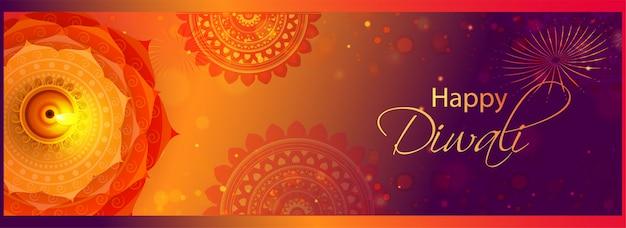 Hoogste mening van verlichte olielamp (diya) op het effect van het mandalapatroon bokeh voor gelukkige diwali-viering. Premium Vector