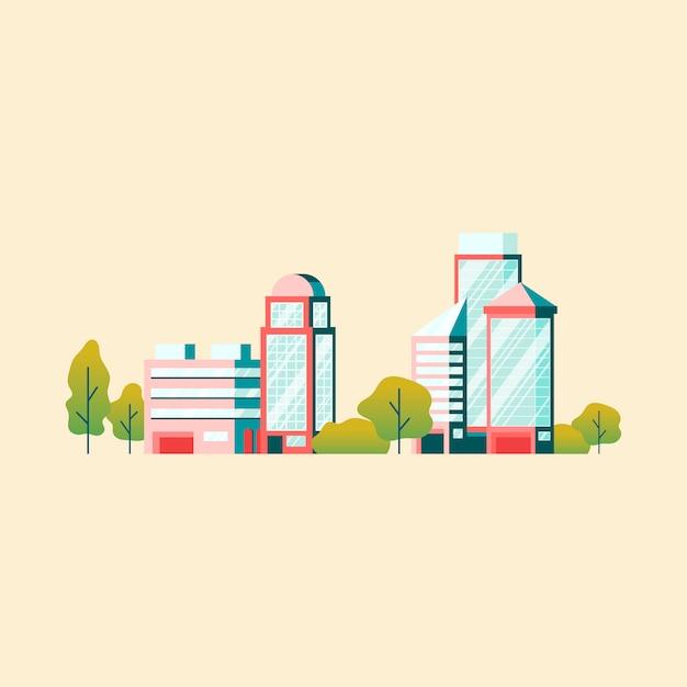 Hoogwaardige technologie kantoorgebouwen vector Gratis Vector